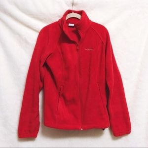 Columbia Red Long Sleeve Zip Up Fleece Jacket